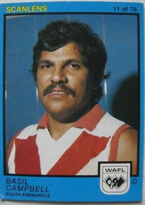 Scanlens 1982 WAFL Football Card No.11 South Fremantle Bulldogs Basil Campbell