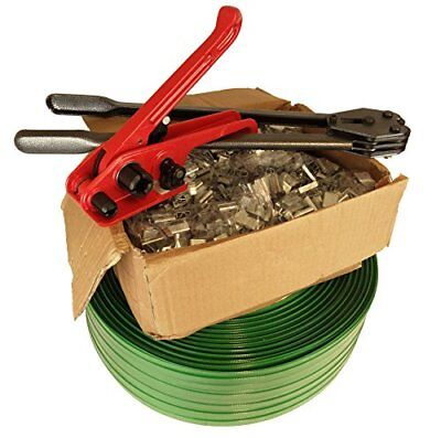 Heavy Duty Pallet Banding Strapping Kit 16mm Wide Strong Roll 2000 Clip Seals