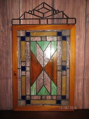 Vintage Stained Glass Window in a Wood Frame Ready to Hang