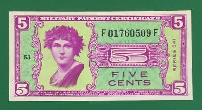 Military Payment Certificate Series 541 FIVE CENTS Choice Uncirculated! Currency