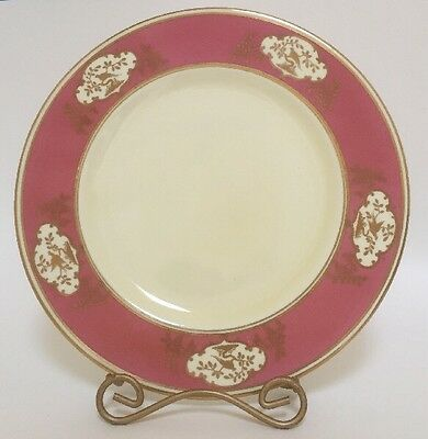 Crown Staffordshire China Dinner Plate Pink Rim Gold Peacocks Birds Gilt Trim