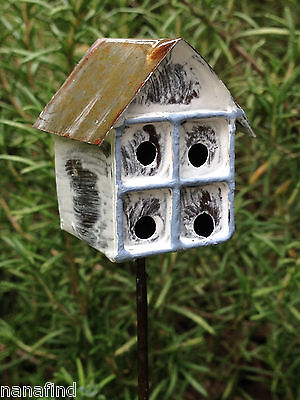 Miniature Dollhouse FAIRY GARDEN ~ Vintage Style Rustic Brown Birdhouse Pick NEW