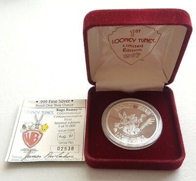 1987 Looney Tunes Bugs Bunny Proof 1oz 999 Fine Silver Coin & Box First Edition