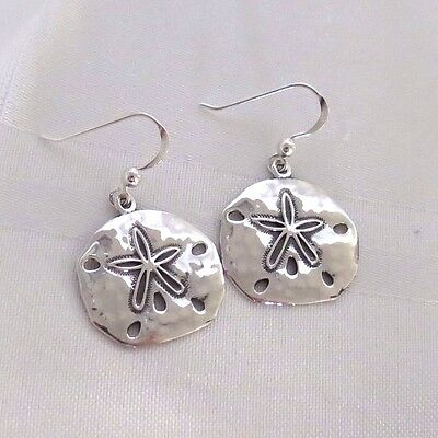 925   HAMMERED SOLID SILVER EMBOSSED STARFISH  EARRINGS *Pretty little Kiss*