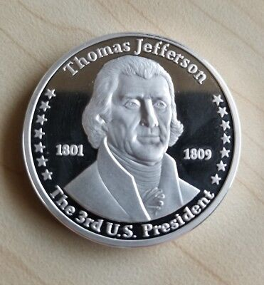 Thomas Jefferson Franklin Mint 100 Mills .999 Pure Silver Presidential Art Coin