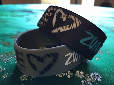 Zumba Wide Silicone Bracelets in Black, Gray, Blue and White~ very good