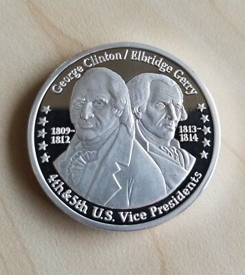 Clinton - Gerry Franklin Mint 100 Mills .999 Pure Silver Presidential Art Coin