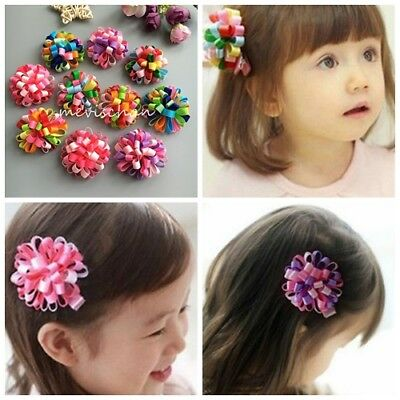 1X New Baby Boutique flower kids girls hair clips accessories hairpins