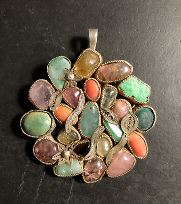 Vintage Early 20th Century Chinese Multi Stone Pendand /Pin