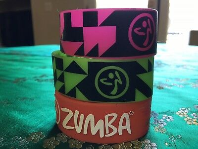 Wide Zumba Silicone Bracelets in Neon colors Green & Pink and also Orange