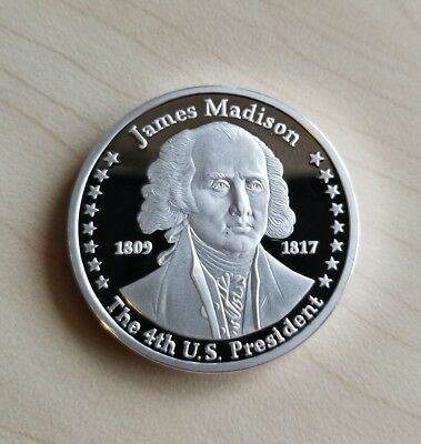 James Madison Franklin Mint 100 Mills .999 Pure Silver Presidential Art Coin