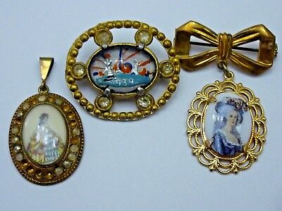 3 Antique Vintage Hand Painted Brooch Pins!