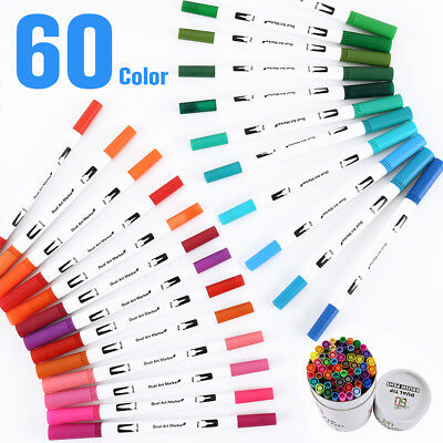 60 Colors Dual Tip Watercolor Drawing Painting Brush Artist Sketch Manga Marker