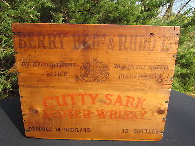 "Vintage Wooden Berry Bros. & Rudd Ltd. ""Cutty Sark"" Scotch Whisky Crate 1959 Red"