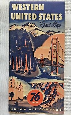1950's or early 60's Western United States Road Map Union 76 Vintage