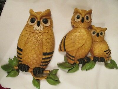 Vintage Homco Owl Family Wall Plaques