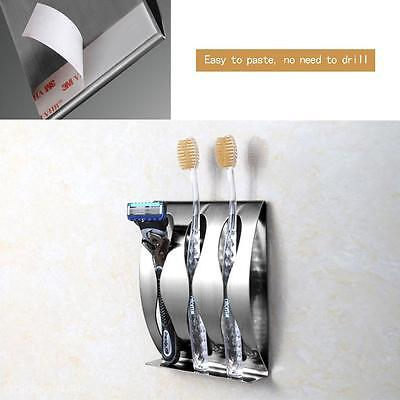 Stainless Steel Wall Mount Toothbrush Holder 2&3 Position Tooth Brush Organizer