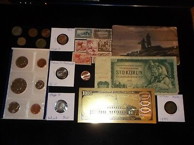 Junk Drawer COIN LOT+Mint Coins+Old BankNotes+Half Dollar+Indian Penny+Stamps