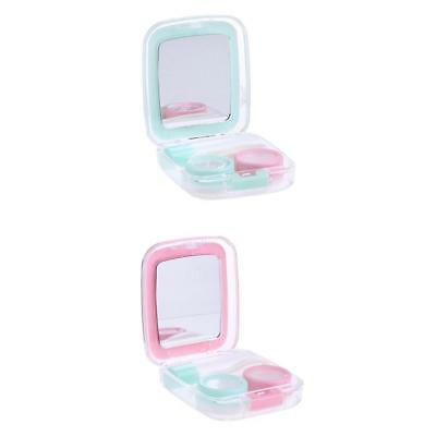 2pcs Travel Cute Mini Contact Lens Case Holder Storage Mirror Box Container