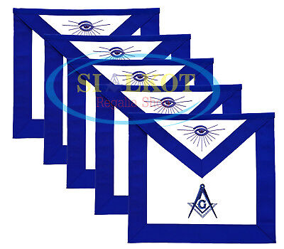 Lot Of 5 Masonic Blue Lodge Master Mason Apron Hand Embroidered