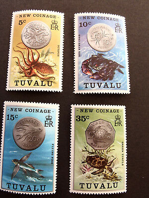 TUVALU  NEW COINAGE 5c, 10c,15c & 35c stamps MINT NEVER HINGED