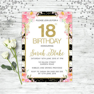 Floral 18Th Birthday Invitations Party Supplies Pink Gold Confetti Invite