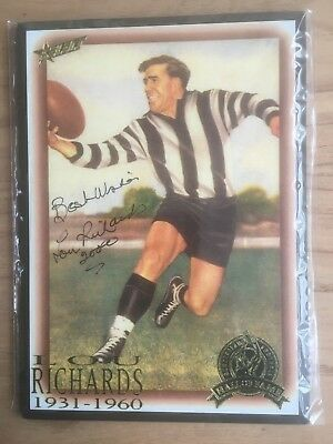 Lou Richards Autographed Hall Of Fame Block Mounted Picture