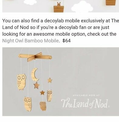 authentic Land of Nod whimsical owl mobile, gender neutral and adorable