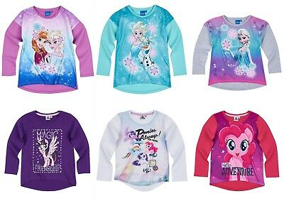 Girls Baby Toddler Teenage Disney Character Long Sleeve T-Shirt Top age 2-12 yrs