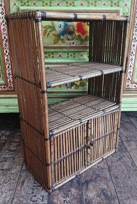 Vintage ANTIQUE Two Tier BAMBOO Plant Pots STAND / Shelves cupboard tiki retro