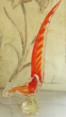 Authentic Murano Italy Pheasant Bird Figurine Red to Orange to Clear 39cms High