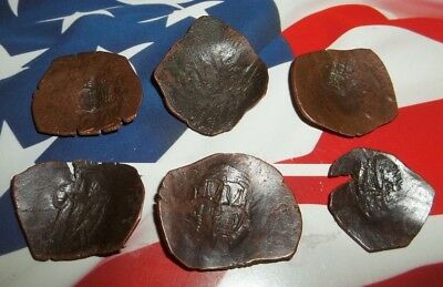 Byzantine bronze cup coins. 18mm - 28mm. lot of 6 (six) ancient coins