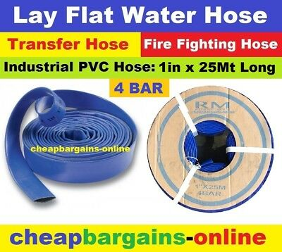 "LAY FLAT WATER FIRE HOSE REEL 1"" x 25Mt INDUSTRIAL PVC TRANSFER IRRIGATION HOSE"