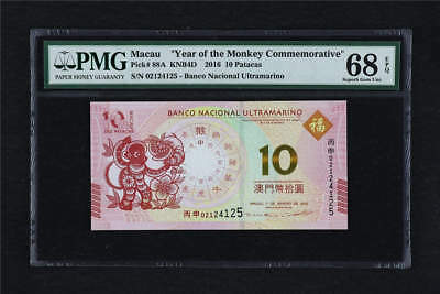 2016 Macau Year of Monkey Commemorative 10 Patacas Pick#88A PMG 68 EPQ Gem UNC