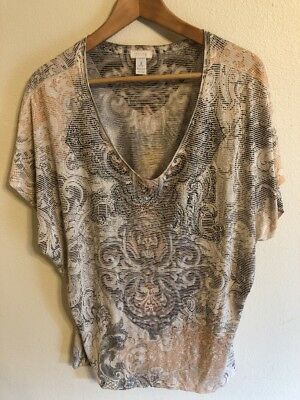 Womens Chicos lot of two tops ultimate tee, embellished top size 3