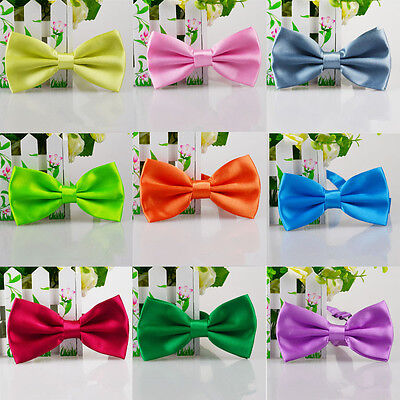 Children Kids Pre Tied Satin Bow Tie Bowties Adjustable Polyester Toddler Boys