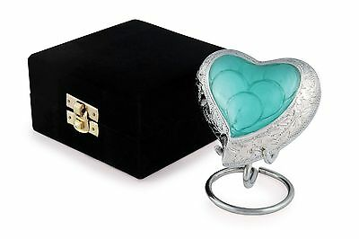 Cremation Urn Keepsake Jade Heart with velvet box and stand
