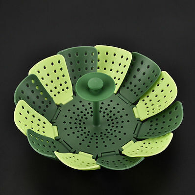 Foldable Steamer Basket Leaflet Anti-scratch for Cooking Vegetables Green Lotus