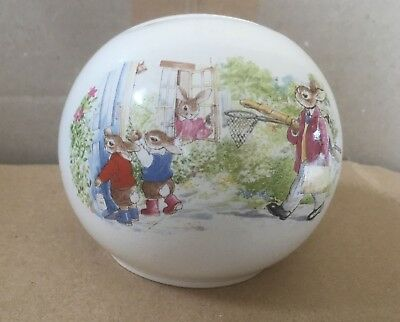 Royal Doulton 1988 Bunnykins ball money bank with fisherman scene
