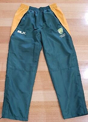 MEN'S - BLK CRICKET AUSTRALIA Polyester TRACK PANTS - Size M / 34 - GREAT COND.