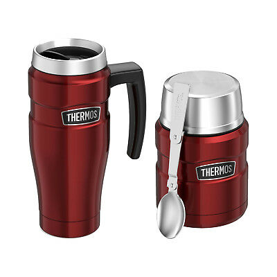 Thermos Vacuum Insulated Stainless Steel Travel Mug And Food Jar 16oz Cranberry