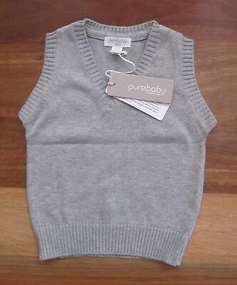 RRP: $34.95 Baby Boy Size 000 PureBaby Grey Knitted Vest, 100% Organic Cotton