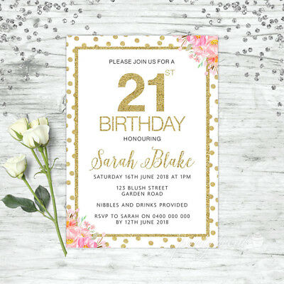 21St Birthday Invitations Party Supplies Floral Pink Gold Confetti Invite
