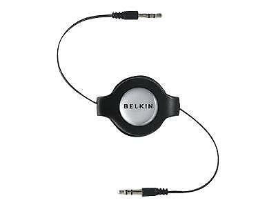 Belkin Retractable 3.5Mm Stereo Audio Cable - Black, 1.4M