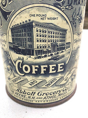 Astor House 1 Lb. Screw Lid Coffee Tin c.1910 New hampshire & Mass.