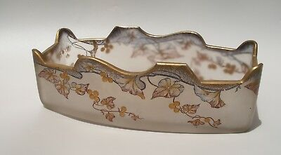 Antique Art Nouveau Frosted Hand Painted Glass Bowl Leaves Gildings