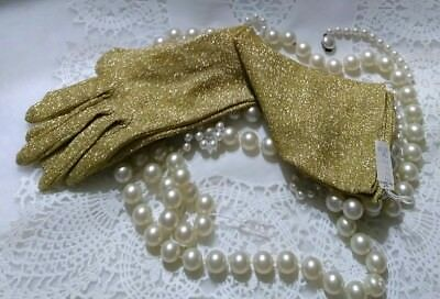 Vintage Ladies Gold Lame Gloves Wm. H. Block Co. New With Tags