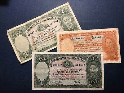 LOT Australia 1 Pound (CoombsWilson, ArmitageMcFarlane) 10 Shillings THREE NOTES