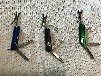 Used, Lot of 3 Victorinox Swiss Army Knives, Black, Translucent Blue & Green