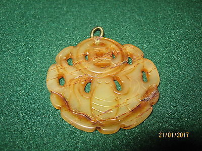 """JADE Sea Creature HAND CARVED 2"""" PENDANT Green / Brown DOUBLE-SIDED"""